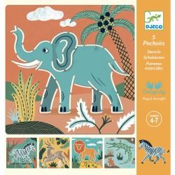 Šablóny na kreslenie - Africké zvieratá DJECO