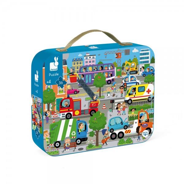 Puzzle v kufríku 36 ks - Mesto Janod