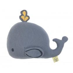 Pletená detská hračka s hrkálkou - Veľryba Lässig