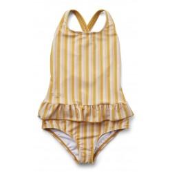 Detské dievčenské plavky Amara pásikavé - Peach/Sandy/Yellow Mellow Liewood