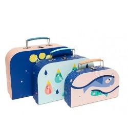 Set detských kufríkov svietiacich v tme Moon Drops - Petit Monkey