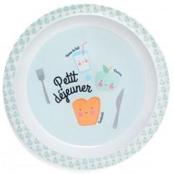 Melaminový tanier Petit dejeuner - modrý Petit Monkey