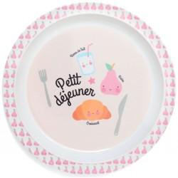 Melaminový tanier Petit dejeuner - ružový Petit Monkey